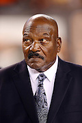 Former Cleveland Browns running back Jim Brown looks on the night he is honored by the team for his athletic efforts during his playing career at the Cleveland Browns NFL week 5 football game against the Buffalo Bills on Thursday, Oct. 3, 2013 in Cleveland. The Browns won the game 37-24. ©Paul Anthony Spinelli
