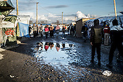 Feb. 23, 2016 - Calais, France - <br /> <br /> The northern entrance always jungle mud. In Calais, northern France, February 23, 2016<br /> ©Exclusivepix Media