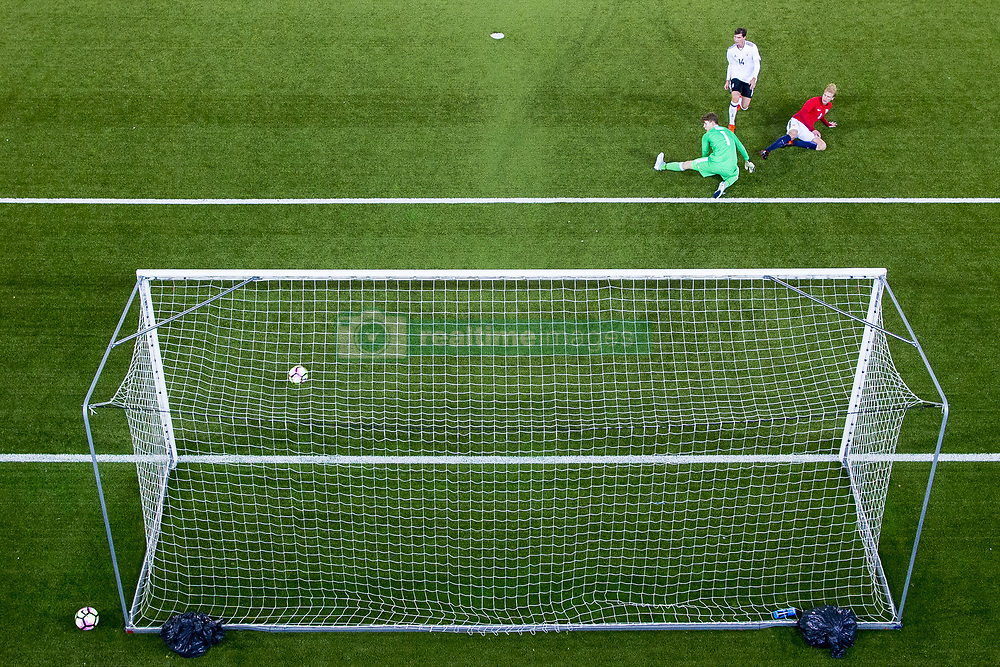 October 10, 2017 - Drammen, NORWAY - 171010 Morten Thorsby of Norway scores 3-1 behind goalkeeper Alexander NŸbel of Germany during the UEFA European Under-21 Qualifier match between Norway and Germany on October 10, 2017 in Drammen..Photo: Vegard Wivestad GrÂ¿tt / BILDBYRN / kod VG / 170030 (Credit Image: © Vegard Wivestad Gr¯Tt/Bildbyran via ZUMA Wire)