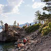 Summer at Cleetwood Cove, the only access point to hike to the water at Crater Lake National Park.