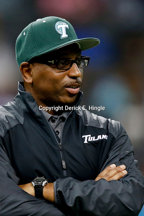 Aug 29, 2013; New Orleans, LA, USA; Tulane Green Wave head coach Curtis Johnson against the Jackson State Tigers at the Mercedes-Benz Superdome. Tulane defeated Jackson State 34-7. Mandatory Credit: Derick E. Hingle-USA TODAY Sports