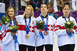 20.02.2014, Bolshoy Ice Dome, Adler, RUS, Sochi, 2014, Eishockey Damen, Medaillenfeier, im Bild Torhueterin Janine Alder (SUI), Katrin Nabholz (SUI), Sarah Forster (SUI), Julia Marty (SUI) mit der Bronze Medaille an der Medaillenfeier // during Womens Icehockey Medal Ceremony of the Olympic Winter Games Sochi 2014 at the Bolshoy Ice Dome in Adler, Russia on 2014/02/20. EXPA Pictures © 2014, PhotoCredit: EXPA/ Freshfocus/ Urs Lindt<br /> <br /> *****ATTENTION - for AUT, SLO, CRO, SRB, BIH, MAZ only*****