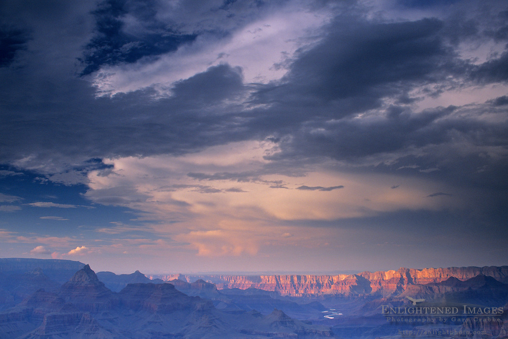 Stormy sunset over the Grand Canyon as seen from Grandview Point, S. Rim, Grand Canyon Nat'l. Park, ARIZONA