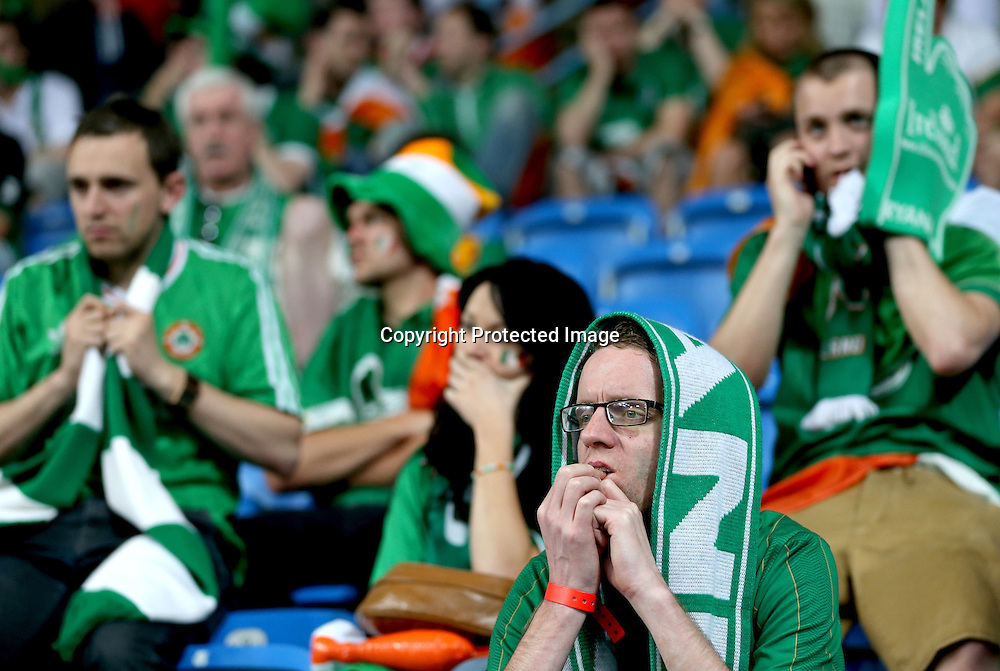 EURO 2012 Group C, Municipal Stadium, Poznan, Poland 10/6/2012<br /> Republic of Ireland vs Croatia<br /> A dejected Irish fan after the game<br /> Mandatory Credit &copy;INPHO/James Crombie