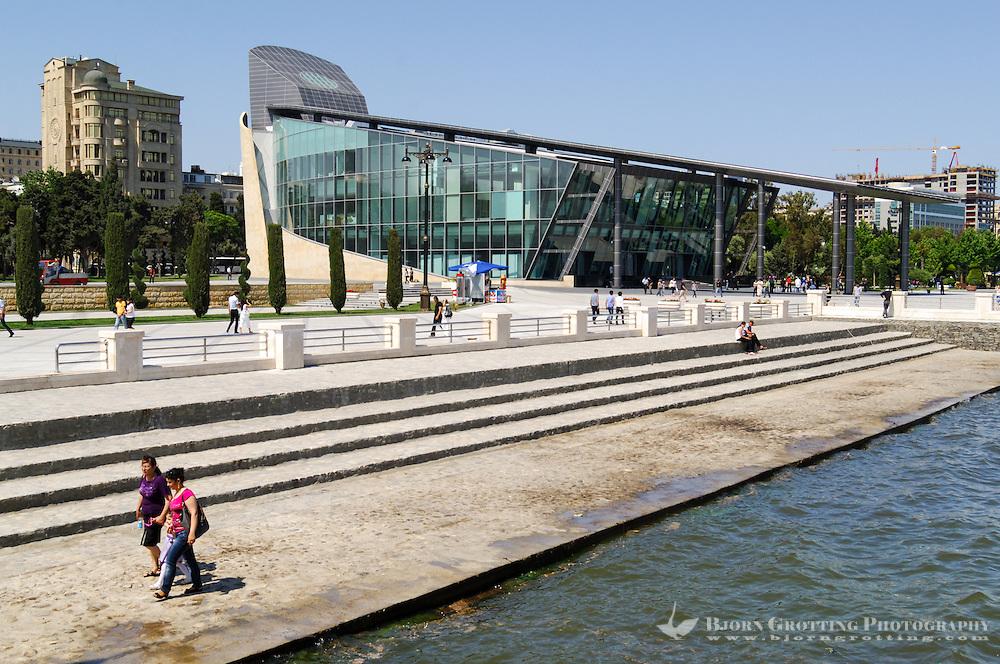 Azerbaijan, Baku. Baku Boulevard is a promenade that runs parallel to Baku's seafront. Baku Business Center in the background.