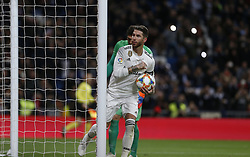 January 24, 2019 - Madrid, Madrid, Spain - Sergio Ramos(Real Madrid) seen celebrating after scoring a goal during the Copa del Rey Round of quarter-final first leg match between Real Madrid CF and Girona FC at the Santiago Bernabeu Stadium in Madrid, Spain. (Credit Image: © Manu Reino/SOPA Images via ZUMA Wire)