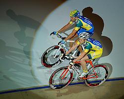 06-01-2012 WIELRENNEN: RABOBANK ZESDAAGSE: ROTTERDAM<br /> Danny Stam (achter), Yoeri Havik tijdens de voorstelronde<br /> (c)2012-FotoHoogendoorn.nl / Peter Schalk