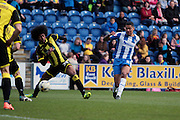 Colchester No 5 Alex Wynter gets in a cross in the Sky Bet League 1 match between Colchester United and Burton Albion at the Weston Homes Community Stadium, Colchester, England on 23 April 2016. Photo by Nigel Cole.