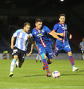 Inverness Caledonian Thistle's Josh Meekings holds off Dundee's Martin Boyle - Inverness Caledonian Thistle v Dundee, SPFL Premiership at Tulloch Caledonian Stadium<br /> <br />  - &copy; David Young - www.davidyoungphoto.co.uk - email: davidyoungphoto@gmail.com