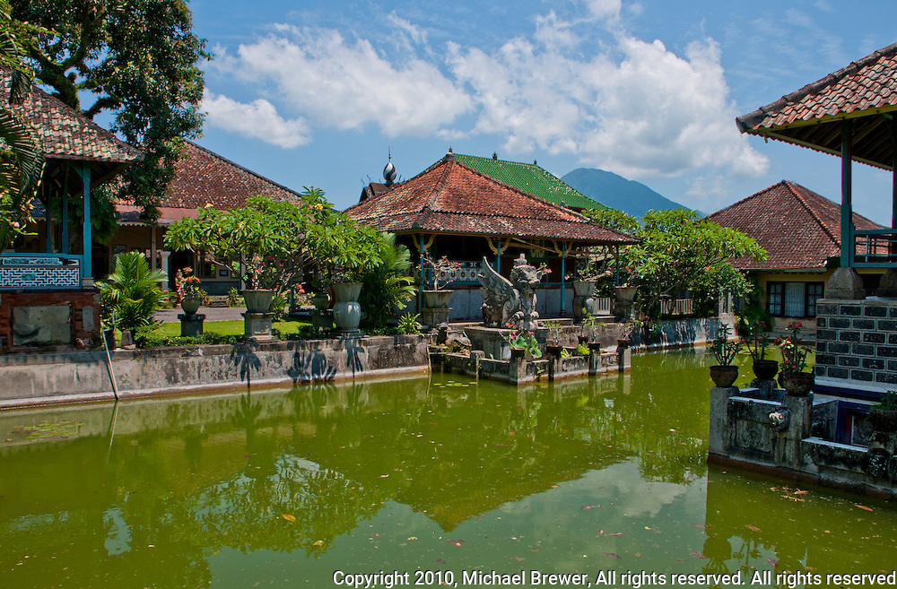 Temple and pond at Amlapura Palace in Bali, Indonesia