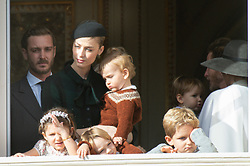 Beatrice Borromeo, Princess Caroline of Hanover, Princess Alexandra of Hanover, India Casiraghi, Stefano Ercole Casiraghi, Alexandre Andrea Casiraghi, Maximilian Casiraghi, Francesco Casiraghi, Andrea Casiraghi, Tatiana Santo Domingo are attending the military parade held in the Palace Square, during the National Day ceremonies, Monaco Ville (Principality of Monaco), on November 19, 2019. Photo by Marco Piovanotto/ABACAPRESS.COM