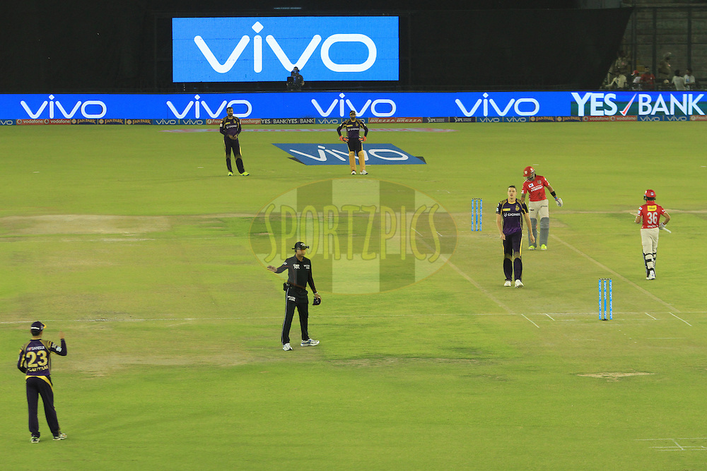 Murali Vijay of Kings XI Punjab score fore during match 13 of the Vivo Indian Premier League ( IPL ) 2016 between the Kings XI Punjab and the Kolkata Knight Riders held at the IS Bindra Stadium, Mohali, India on the 19th April 2016<br /> <br /> Photo by Arjun Singh / IPL/ SPORTZPICS