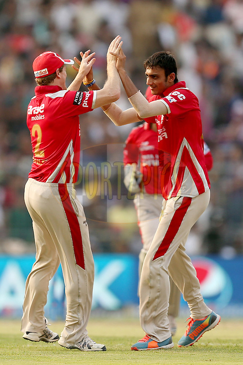 Akshar Patel celebrates the wicket of Robin Uthappa during the first qualifier match (QF1) of the Pepsi Indian Premier League Season VII 2014 between the Kings XI Punjab and the Kolkata Knight Riders held at Eden Gardens Cricket Stadium, Kolkata, India on the 28th May 2014. Photo by Jacques Rossouw / IPL / SPORTZPICS<br /> <br /> <br /> <br /> Image use subject to terms and conditions which can be found here:  http://sportzpics.photoshelter.com/gallery/Pepsi-IPL-Image-terms-and-conditions/G00004VW1IVJ.gB0/C0000TScjhBM6ikg