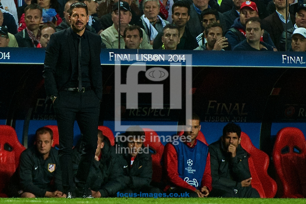 Atletico Madrid manager Diego Simeone during the UEFA Champions League Final at Est&aacute;dio da Luz, Lisbon<br /> Picture by Ian Wadkins/Focus Images Ltd +44 7877 568959<br /> 24/05/2014