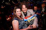 HILVERSUM - In Studio24 is de Finale van Bloed, Zweet en Tranen. Met op de foto  winnaar Jason Bouman met zijn zwangere vrouw Samantha. FOTO LEVIN DEN BOER - PERSFOTO.NU
