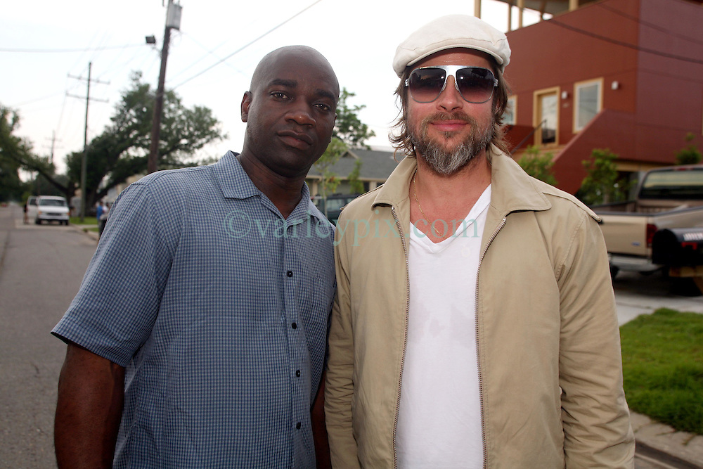 31 May 2010. New Orleans, Louisiana, USA.  <br /> Brad Pitt and cameraman Kerwin Devonish on the set of Spike Lee's latest movie,  'If God is Willing and the Creek Don't Rise.'<br /> Photo; Charlie Varley.