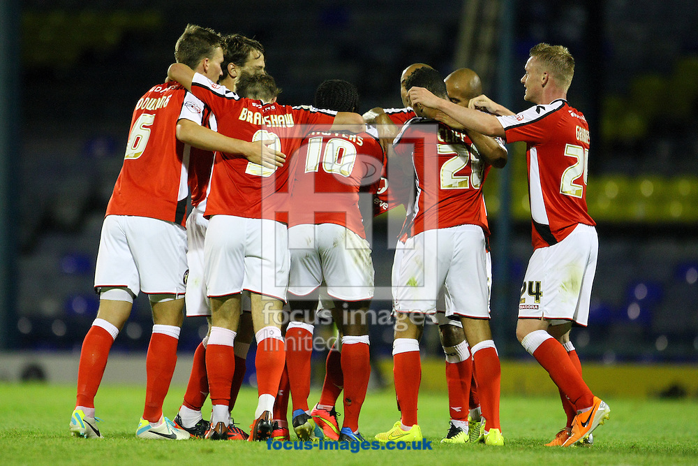 Kieron Morris of Walsall celebrates scoring his side's 2nd goal during the Capital One Cup First Round match at Roots Hall, Southend<br /> Picture by Paul Chesterton/Focus Images Ltd +44 7904 640267<br /> 12/08/2014