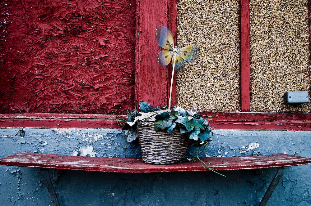 """A small flower pot sits next to a doorway of an abandoned home where blocks of abandoned homes and small signs of life are all that remain in certain areas of Gary, IN. Gary is part of America's Midwestern """"Rust Belt"""", the heartland of the country and home to big unionized manufacturers like the auto and steel industries."""