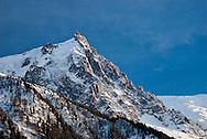 The sun sets on Aiguille du Midi, Chamonix Mont Blanc France