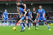 Peter Vincenti, Jason Pearce during the Sky Bet League 1 match between Rochdale and Wigan Athletic at Spotland, Rochdale, England on 14 November 2015. Photo by Daniel Youngs.