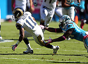 St. Louis Rams wide receiver Tavon Austin (11) catches a second quarter pass short of a first down during the NFL week 7 football game against the Carolina Panthers on Sunday, Oct. 20, 2013 in Charlotte, N.C.. The Panthers won the game 30-15. ©Paul Anthony Spinelli