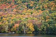 Fall colors abound on trees by reservoir.