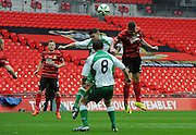 Kieron Morris with a headed chance during the FA Carlsberg Trophy Final match between North Ferriby United and Wrexham FC at Eon Visual Media Stadium, North Ferriby, United Kingdom on 29 March 2015. Photo by Michael Hulf.