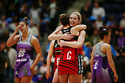 Zoe Walker and Nicola Mackle of the Tactix celebrate the win at the final whistle. 2017 ANZ Premiership netball match, Northern Stars v Mainland Tactix at the Vodafone Events Centre, Auckland, New Zealand. 4 June 2017 © Copyright Photo: Anthony Au-Yeung / www.photosport.nz