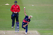 England womens cricket player Katherine Brunt bowling  during the ICC Women's World Cup match between England and Pakistan at the Fischer County Ground, Grace Road, Leicester, United Kingdom on 27 June 2017. Photo by Simon Davies.