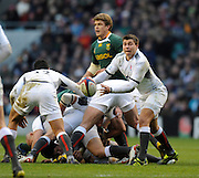 Twickenham; GREAT BRITAIN;  Englands' Ben YOUNGS passes the ball out during the Investec Challenge Series; England vs South Africa; Autumn International at Twickenham Stadium; Surrey on Saturday - 27/11/2010[Mandatory Credit; Photo, Peter Spurrier/Intersport-images]