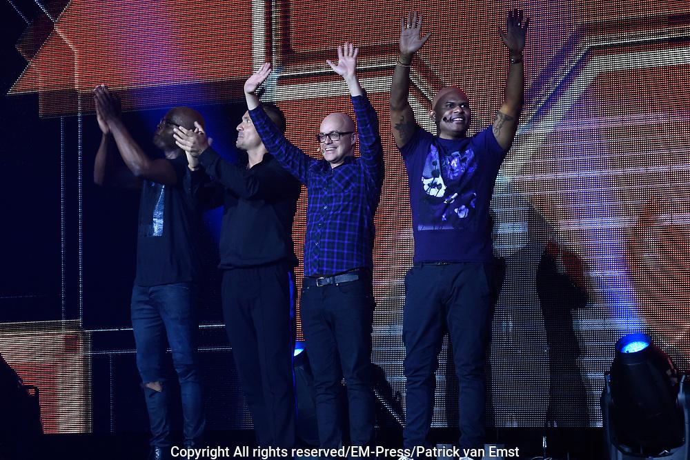 De grootste comedyshow van het jaar, 'GABBERS'! im het ZiggoDome, Amsterdam.<br /> <br /> Op de foto:  Philippe Geubels, Rou&eacute; Verveer, Guido Weijers en Jandino Asporaat