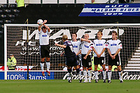 Photo: Kevin Poolman.<br />Derby County v Southend United. Coca Cola Championship. 30/09/2006. Steve Hamell (Southend) has his free kick blocked by Adam Bolder.