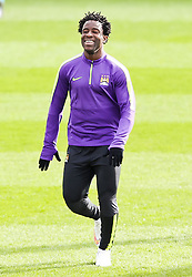 Wilfred Bony of Manchester City pictured during the training session at The Etihad Campus ahead of the UEFA Champions League clash with FC Barcelona - Photo mandatory by-line: Matt McNulty/JMP - Mobile: 07966 386802 - 23/02/2015 - SPORT - Football - Manchester - Etihad Stadium