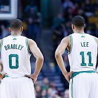 10 February 2013: Boston Celtics point guard Avery Bradley (0) is seen next to Boston Celtics shooting guard Courtney Lee (11) during the Boston Celtics 118-114 3OT victory over the Denver Nuggets at the TD Garden, Boston, Massachusetts, USA.