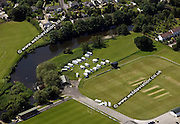 aerial photograph of camp site  on the river Aire   Bradford  Yorkshire  England UK