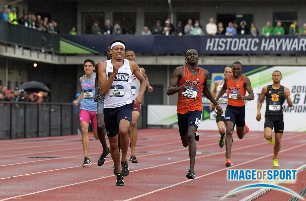 Jun 8, 2018; Eugene, OR, USA; Isaiah Harris of Penn State celebrates after defeats Michael Arop of Mississippi and Michael Saruni of UTEP to win the 800m in 1:44.76 during the NCAA Track and Field championships at Hayward Field.