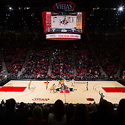 08 January 2019: San Diego State Aztecs forward Nathan Mensah (31) takes the tip off for the Aztecs as they take on the Wyoming Cowboys. The Aztecs beat the Cowboys 84-54 Tuesday night at Viejas Arena.