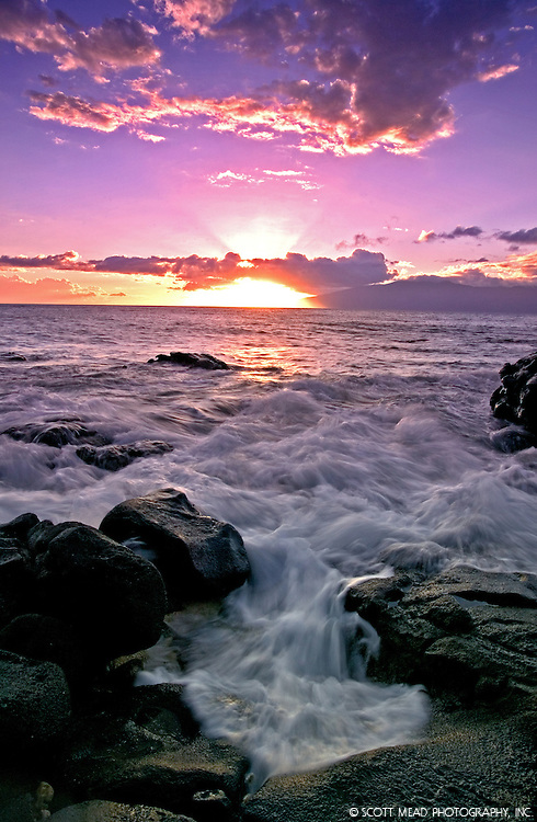 Flowing water and waves at sunset in Kahana, Maui, Hawaii