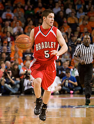 Bradley guard Sam Maniscalco (5) dribble up court against UVA.  The Virginia Cavaliers fell to the Bradley Braves 96-85 in the semifinals of the 2008 College Basketball Invitational at the University of Virginia's John Paul Jones Arena in Charlottesville, VA on March 26, 2008.