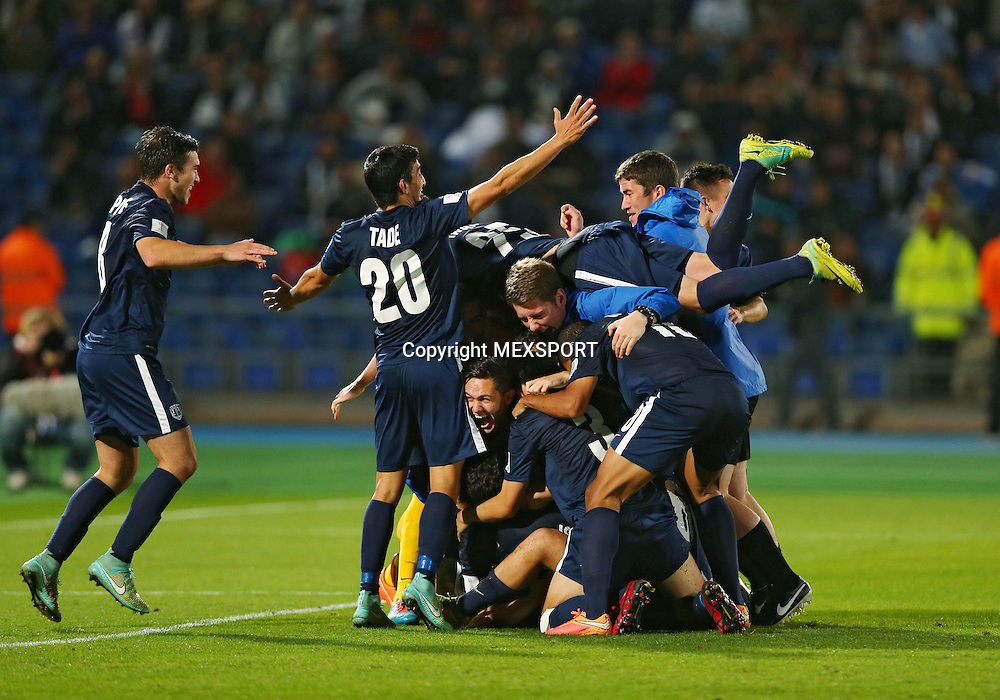 Action photo during the match Cruz Azul (MEX) vs Auckland City (NZL) Reported by the Third Place Club World Cup 2014 Morocco photo: Auckland City Players Celebrating the Third Place<br /> <br /> 12/20/2014 / Matthew Ashton / AMA / Mexsport