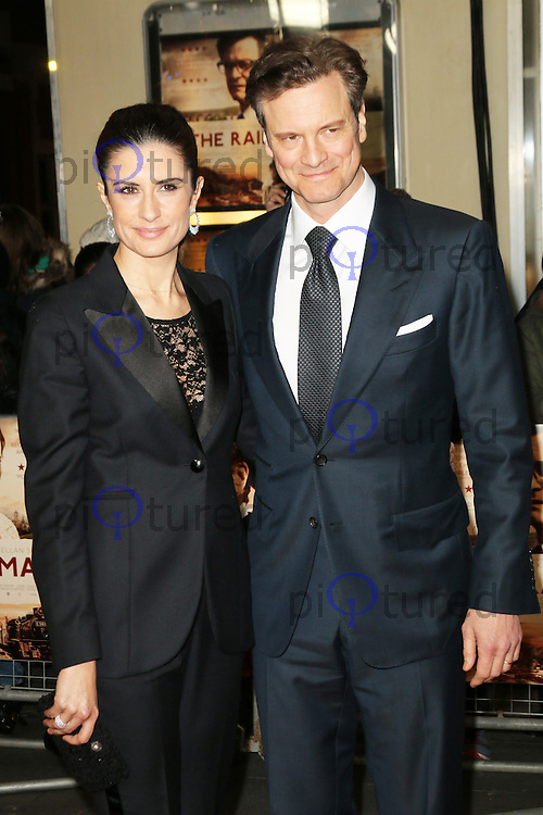 Livia Firth; Colin Firth, The Railway Man - UK Film Premiere, Odeon West End, Leicester Square, London UK, 04 December 2013, Photo by Richard Goldschmidt