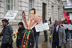 London, UK. 4th February, 2019. Tamils protest in Whitehall on Sri Lanka Independence Day to call for the release of political prisoners, an independent war crimes commission, information on missing people, the return of occupied land and a right to self-determination for the Tamil population.