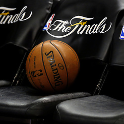 Jun 13, 2013; San Antonio, TX, USA; Detailed view of the NBA Finals logo and a basketball prior to game four of the 2013 NBA Finals between the Miami Heat and the San Antonio Spurs at the AT&T Center. Mandatory Credit: Derick E. Hingle-USA TODAY Sports
