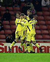 Photo: Andrew Unwin.<br /> Sunderland v Liverpool. The Barclays Premiership.<br /> 30/11/2005.<br /> Liverpool's Steven Gerrard (C) celebrates his goal with Luis Garcia (L).