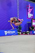 Agagulian Iasmina during qualifying at hoop in Pesaro World Cup at Adriatic Arena on April 13, 2018. Iasmina is an Armenian rhythmic gymnastics athlete born in Yerevan in 2001.