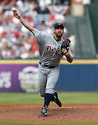 ATLANTA, GA - OCTOBER 2:  Pitcher Justin Verlander #35 of the Detroit Tigers throws a pitch during the game against the Atlanta Braves at Turner Field on Sunday, October 2, 2016 in Atlanta, Georgia. (Photo by Mike Zarrilli/MLB Photos via Getty Images) *** Local Caption ***