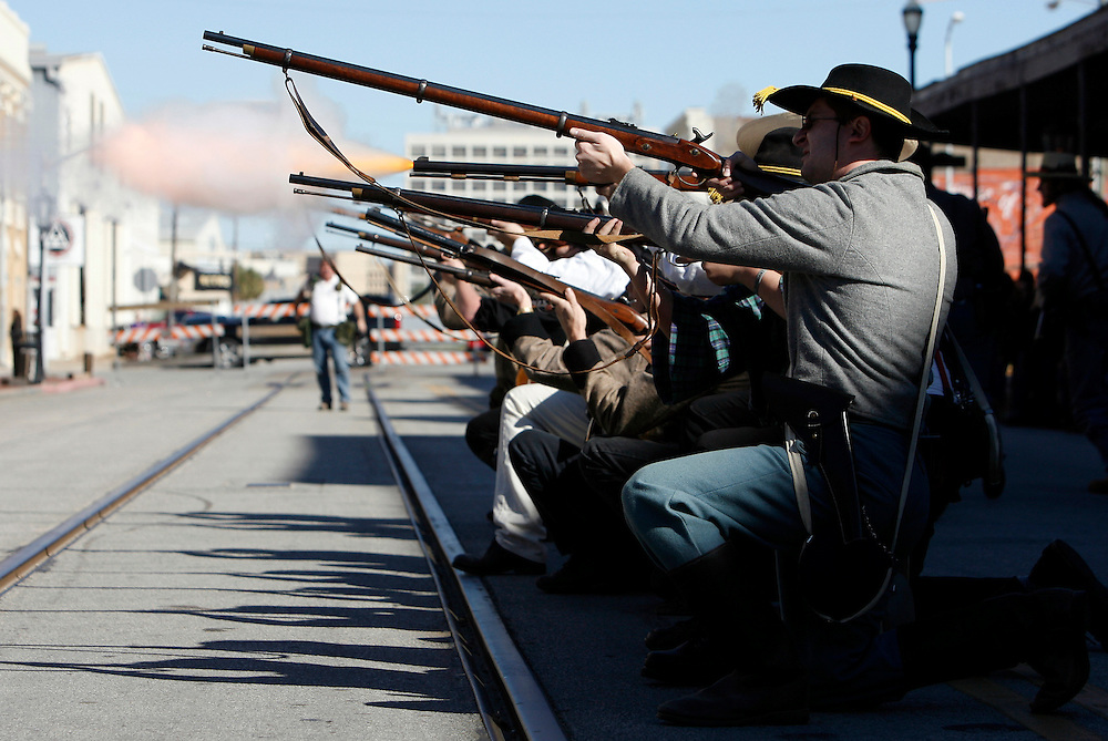 Participants dressed as Confederate soldiers fire off rifles during a Battle of Galveston reenactment on the Strand in Galveston, Texas on Saturday, Jan. 14, 2012. The Battle of Galveston Reenactment was part of a series of events marking the 149th anniversary of the Civil War Battle of Galveston, in which Confederate troops regained control of Galveston Harbor.
