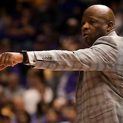 Feb 2, 2019; Baton Rouge, LA, USA; Arkansas Razorbacks head coach Mike Anderson against the LSU Tigers during the first half at the Maravich Assembly Center. Mandatory Credit: Derick E. Hingle-USA TODAY Sports