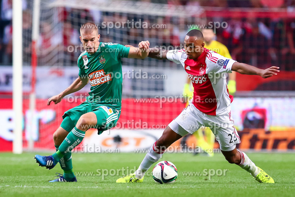 04.08.2015, Amsterdam Arena, Amsterdam, NLD, UEFA CL, Ajax Amsterdam vs SK Rapid Wien, Qualifikation, 3. Runde, Rückspiel, im Bild Srdjan Grahovac (SK Rapid Wien), Kenny Tete (Ajax Amsterdam)// during the UEFA Champions League Qualifier 3rd round, 2nd Leg Match between Ajax Amsterdam and SK Rapid Wien at the Amsterdam Arena in Amsterdam, Netherlands on 2015/08/04. EXPA Pictures © 2015, PhotoCredit: EXPA/ Sebastian Pucher