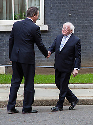 © Licensed to London News Pictures. 09/04/2014. London, UK. Michael D Higgins, the Irish President meets British Prime Minister, David Cameron in Downing Street, London on Wednesday, 9th April 2014. Photo credit : Vickie Flores/LNP